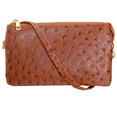 Humble Chic Vegan Leather Faux Ostrich Wristlet - Textured Dot Convertible Wallet Crossbody Bag Clutch Purse with Shoulder Strap, Saddle Brown Ostrich, Camel, Tan, Cognac, Walnut