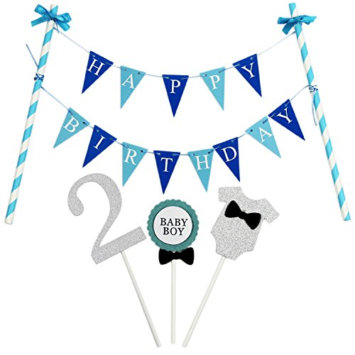 KUNGYO Mini Happy Birthday Cake Bunting Banner Cake Topper Garland - Handmade Pennant Flags 2nd Baby Boy Birthday Party Cake Decoration Supplies