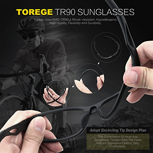 82d1828e0b TOREGE Polarized Sports Sunglasses for Men Women for Cycling Running  Fishing Golf TR90 Unbreakable Frame TR010-1
