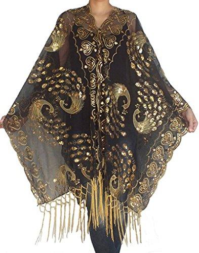 Alivila.Y Fashion Womens Phoenix Embroidery Sequins Wedding Scarf Shawls A26-BlackGold