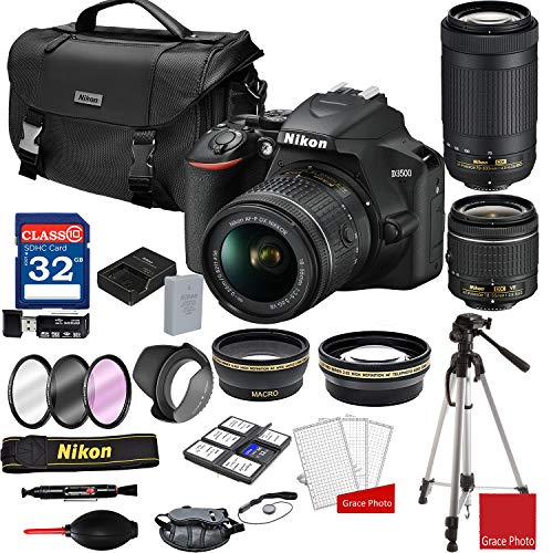 Nikon D3500 DSLR Camera with AF-P 18-55mm and 70-300mm Zoom Lenses + Nikon DSLR Camera Case + 32GB Memory Bundle (25pcs)