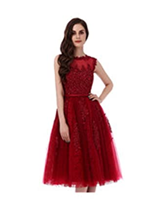 Yikaya Red Lace Short Prom Gown Womens Formal Evening Dress Under Knee Length ...
