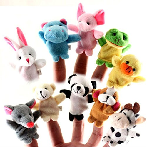 10 Pcs/Lot Baby Plush Toys Cartoon Happy Family Fun Animal Finger Hand Puppet Kids Learning & Education Toys Gifts^WH1255.