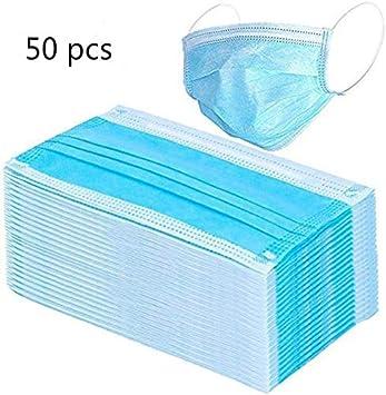 Protección respiratoria desechables, Protección facial sellada con bucle elástico para los oídos, 3 capas transpirables, cómoda Protección respiratoria quirúrgica sanitaria para uso al aire (50 pcs)