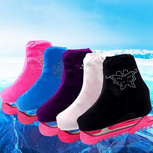 Price comparison product image shengyuze Non Slip Covers 1 Pair Rhinestone Decor Velvet Cloth Women's Fashion Figure Skate Shoes Cover - Black S