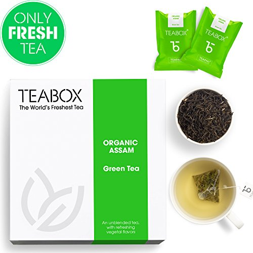 Teabox USDA Organic Assam Green Tea, 16 Teabags | Low Caffeine, High Anti-Oxidants | 100% Pure and Natural Assam Green Tea | Sealed-at-Source Freshness from India ()