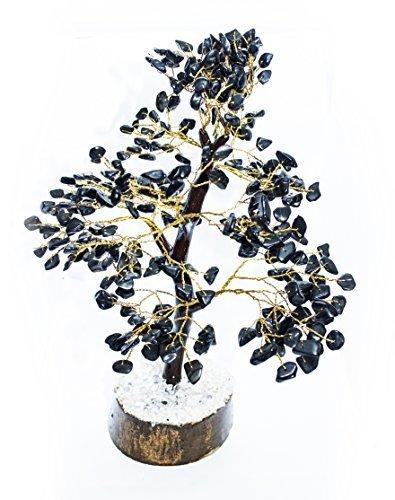 (YATHABI Black Tourmaline Feng Shui Gemstone Healing Crystal Money Tree Bonsai Fortune for Good Luck, Wealth Prosperity Spiritual Gift & Home Decor Golden Wire (Size:- 10-12 Inch))