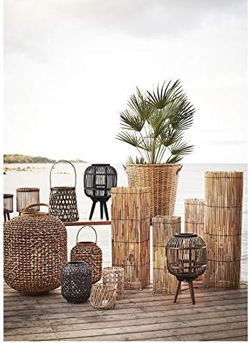 Madam Stoltz Bamboo Garden Lantern for Pillar Candle or Tea Light Black