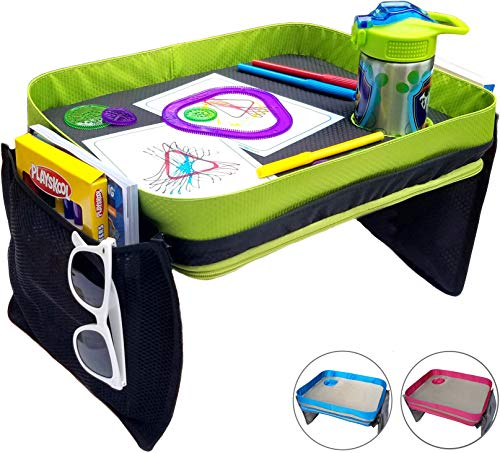 Kids Travel Tray - Car Seat Lap Tray for Children & Toddlers - Perfect Activity Snack & Play Tray for Short Road Trips or Long Journeys - Gender Neutral - Green and Black