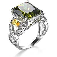 Promsup Hot Sale Birthstone Multi Shiny Genuine Olive Peridot Silver Lady Ring Sz 7 8 9 (7)
