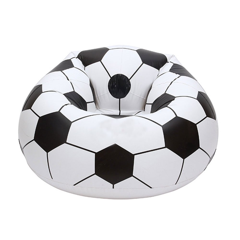 niceEshop TM Inflatable Football Sofa Cool Design Bean Bag High Quality Eco-friendly Pvc For Adults And Kids,Black+white, Small