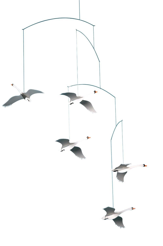 Flensted Mobiles Scandinavian Swan Hanging Mobile - 22 Inches Cardboard
