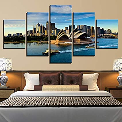 mmwin Lienzo Arte de la Pared Fotos decoración para el hogar para Sala de Estar 5 Piezas Sydney Opera House Agua Paisaje HD Imprime Cartel s: Amazon.es: Hogar