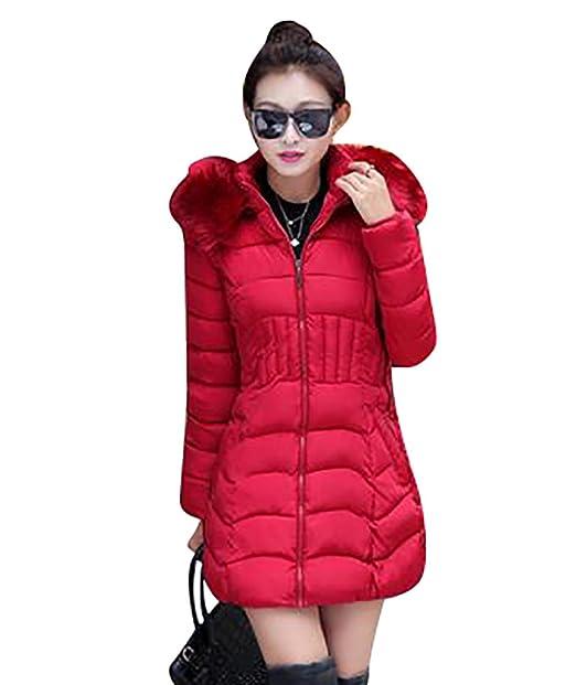 YOUJIA Mujer Chaqueta Abrigos Acolchado Térmico Ajustado Parka con Capucha de Piel Sintética de Invierno (