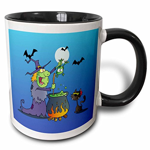 3dRose Dooni Designs Halloween Designs - Funny Crazy Witch Preparing a Potion With a Frog In a Cauldron Silly Halloween Holiday Cartoon - 15oz Two-Tone Black Mug (mug_153714_9) -