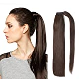 """Best Hair Extension Ponytail Real Hairs - 18"""" Straight Wrap Around Ponytail Human Hair Extensions Review"""