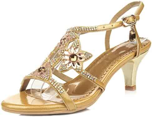 62b7c3a0660559 LizForm Womens Strappy Rhinestone Dress Sandal Low Heel Open Toe Evening  Shoes