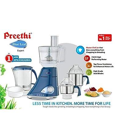 Preethi MG214 Blue Leaf Expert Mixer Grinder, 750W, 3 jars with Master Chef Jar 9