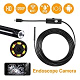 USB Endoscope Camera, WiFi Borescope Inspection Camera Megapixels HD Snake Camera Computer USB Endoscope Industrial Camera for Android and Smartphone, Samsung, Tablet - Black
