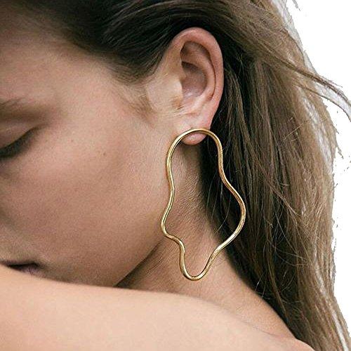 Earrings Picasso (Punk Exaggerate Gold Color Earring Women Ladies Irregular Geometric Earrings Metal Piercing Earring)