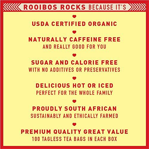 Rooibos Tea Organic Tagless Teabags - 100 South African Red Bush Herbal Tea Bags, By Rooibos Rocks (100ct) by Rooibos Rocks (Image #4)