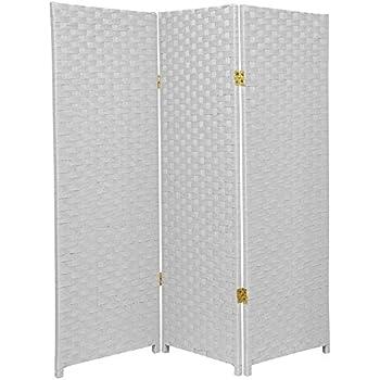 Oriental Furniture 4 Ft Tall Woven Fiber Room Divider White 3 Panel