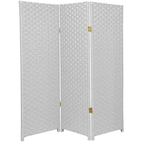 Oriental Furniture Short Height 3 Panel Room Divider, 4-Feet Rattan Like Woven Plant Fiber Folding Privacy Screen, White SS4FIBER-WHT-3P
