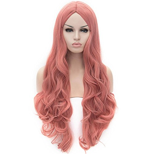 Flovex Women Long Wavy Cosplay Wigs Ladies Sexy Natural Costume Club Party Daily Hair with Wig Cap (Smoke Pink)