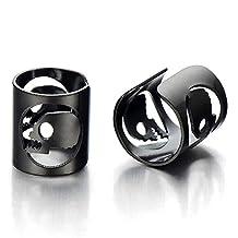 2pcs Mens Womens Black Color Steel Ear Cuff with Skull Ear Clip Non-Piercing Clip On Earrings