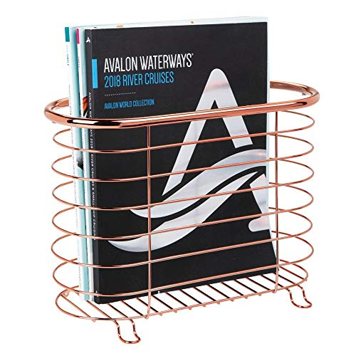 mDesign Decorative Metal Farmhouse Magazine Holder and Organizer Bin - Standing Rack for Magazines, Books, Newspapers, Tablets in Bathroom, Family Room, Office, Den - Rose Gold