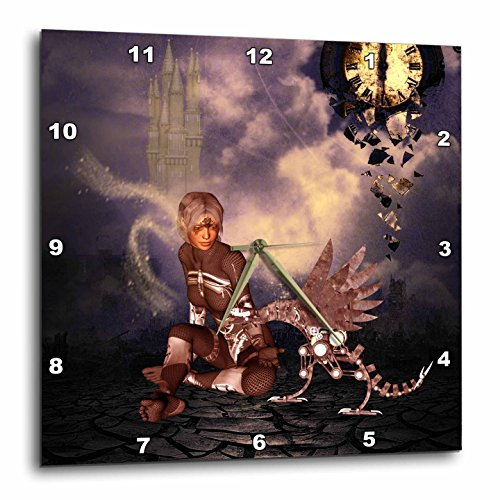 3dRose Heike Köhnen Design Steampunk – Steampunk dragon with steampunk women – Wall Clocks