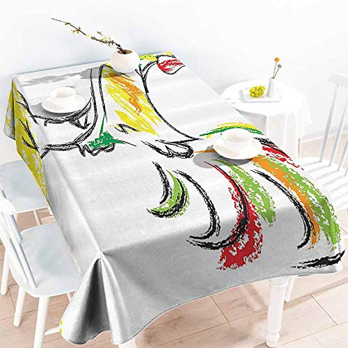 - Homrkey Elegance Engineered Tablecloth Gallos Decor Collection Rooster Chicken Tail Farm Animal Oil Pencil Drawing Effect Child Artwork White Dark Orange Green Yellow Soft and Smooth Surface W70 xL84
