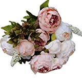 A-store 1Bouquet 8 Heads Artificial Peony Silk Flower Leaf For Home Decoration Wedding Decor, Bride Holding Flowers Floral Decors (Pink)