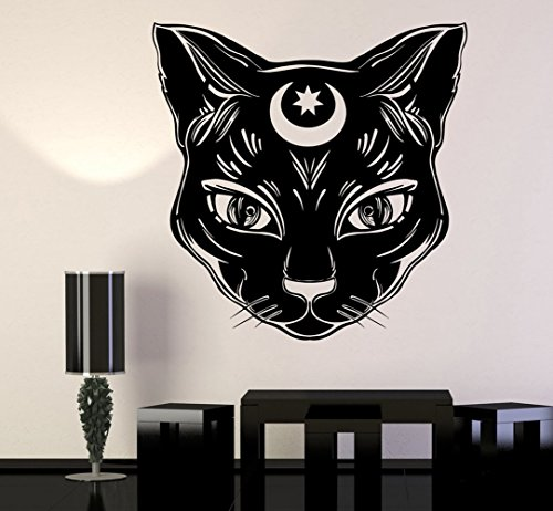 BorisMotley Wall Decal Black Cat Moon Witchcraft Vinyl Removable