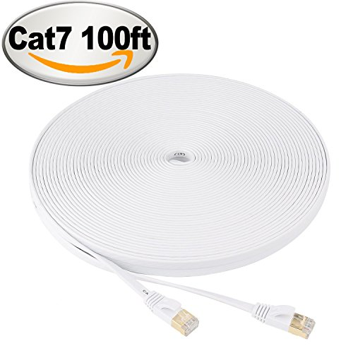 NCElec Flat STP Cat7 Ethernet Cable, Safe for In-wall and Outdoor Use (100Ft, White)