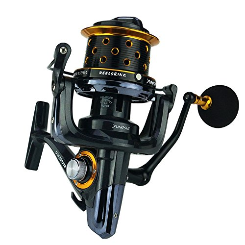 Spinning Reels Spinning Fishing Reel with Double Drag Brake System Baitrunner Reel 14+1 Bearings Left Right Interchangeable Handle for Saltwater Fishing Freespool Fishing Reel ( Size : 10000 )