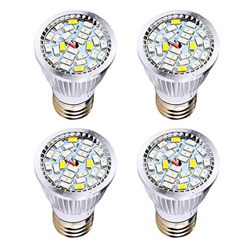 MD Lighting LED Grow Light(4 Pack), 10W E27 28 LEDs Growing Light Full Spectrum Grow Lamp with Plane Mirror for Indoor Plants, Plant Light Bulb for Garden Hydroponic Greenhouse Organic