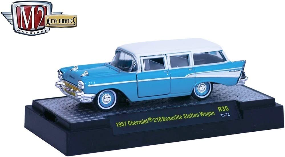 1957 CHEVY CHEVROLET 210 BEAUVILLE STATION WAGON 1:64 SCALE DIECAST MODEL CAR