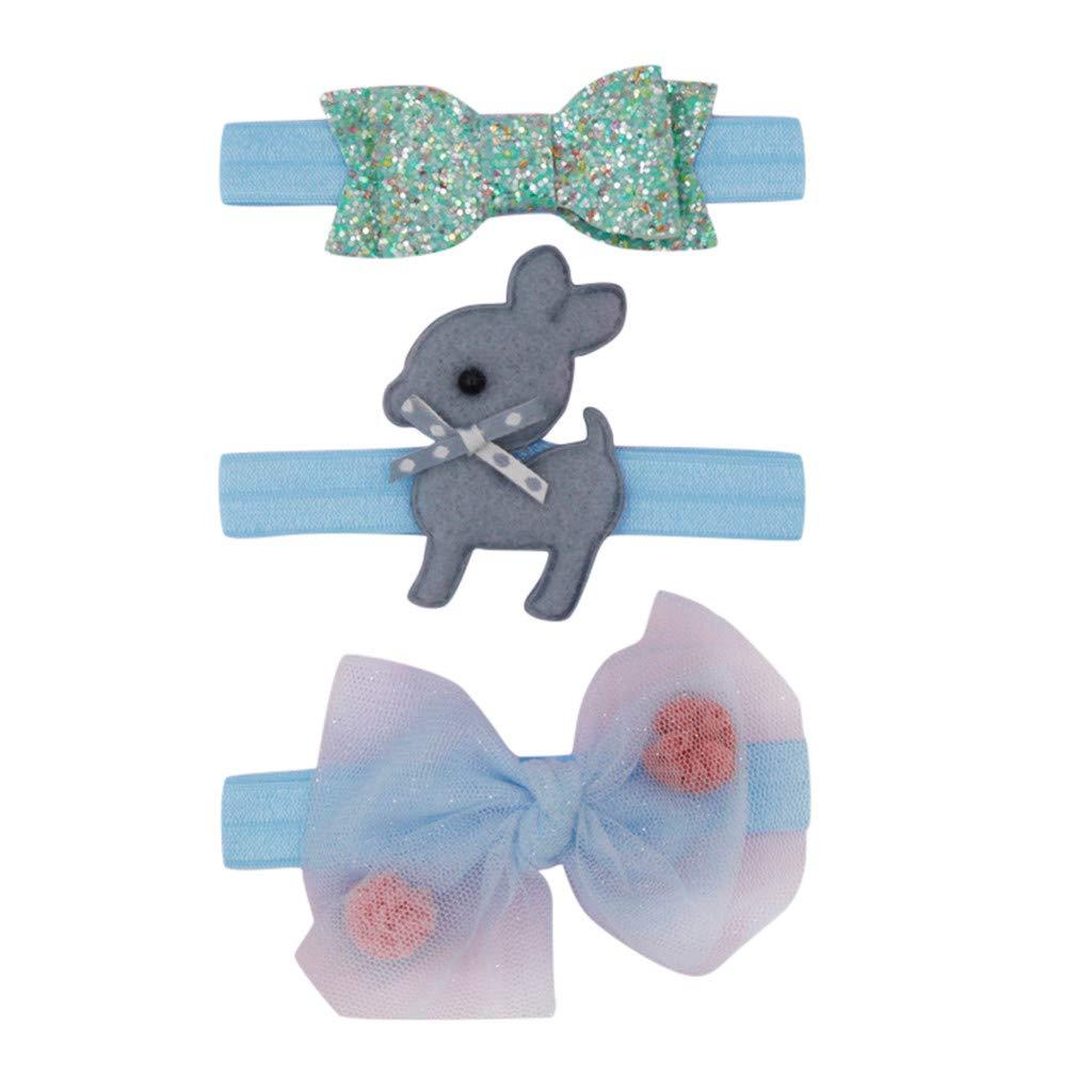 erthome Baby Haarnadel 3pcs scherzt Blumenstirnband-M/ädchen-Baby-elastisches Bowknot-Zusatz-Hairband-Set