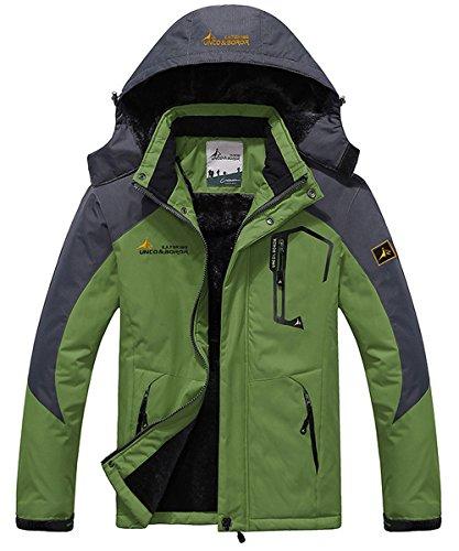 JINSHI Men's Waterproof Windproof Fleece Ski Jacket Outdoor Insulated Snow Jacket (Green,L)