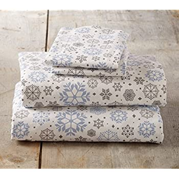 Stratton Collection Extra Soft Printed 100% Cotton Flannel Sheet Set. Warm, Cozy, Lightweight, Luxury Winter Bed Sheets. By Home Fashion Designs Brand. (Queen, Snowflake)