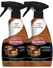Weiman Leather Cleaner & Conditioner - Gentle Formula Cleans, Conditions and Restores Leather and Vinyl Surfaces – UV Protectants Help Prevent Cracking or Fading of Leather Sofas, Car Interiors, Shoes, Purses and More