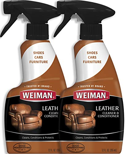 Weiman Leather Cleaner and Conditioner for Furniture - 12 Ounce - 2 Pack - Ultra Violet Protection Help Prevent Cracking or Fading of Leather Couches, Car Seats, Shoes, Purses