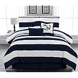 Legacy Decor 7pc. Microfiber Nautical Themed Comforter set, Navy Blue and White Striped, California King Size