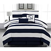 Legacy Decor 5pc. Microfiber Nautical Themed Comforter set, Navy Blue and White Striped, Twin Size by Legacy Decor