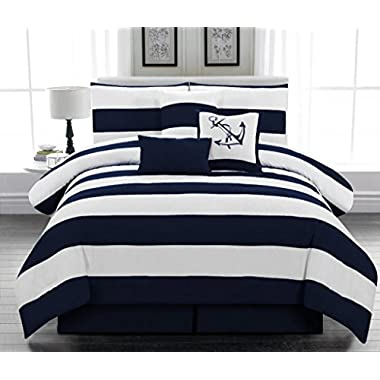 Legacy Decor 7pc. Microfiber Nautical Themed Comforter set, Navy Blue and White Striped, California King Size