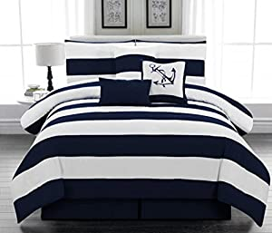 microfiber nautical themed comforter set navy blue and white striped california king size