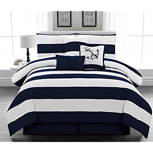 microfiber nautical themed comforter set navy blue and white striped queen size - Nautical Bedding