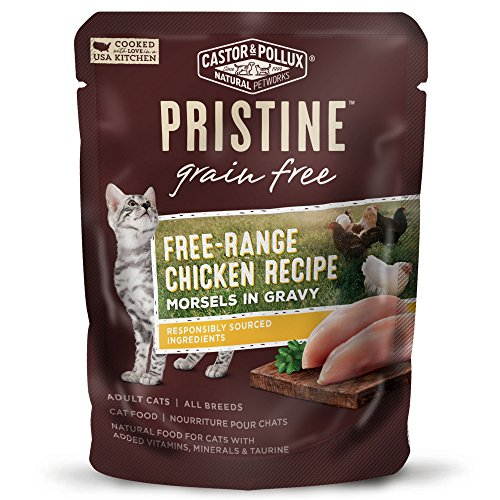 Castor & Pollux Pristine Free-Range Chicken Recipe Morsels in Gravy Wet Cat Food 3 oz, 24 count case -