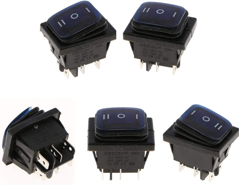 5x Illuminated ON//Off//on 6Pin 3Position Square Toggle Rocker Boat Switch Blue